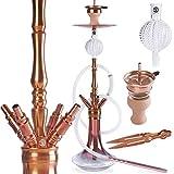 ORACLE HOOKAH® Rosa Shisha Set Kupferfarbe V2A Edelstahl Wasserpfeife 90cm 4 Anschlüsse mit...