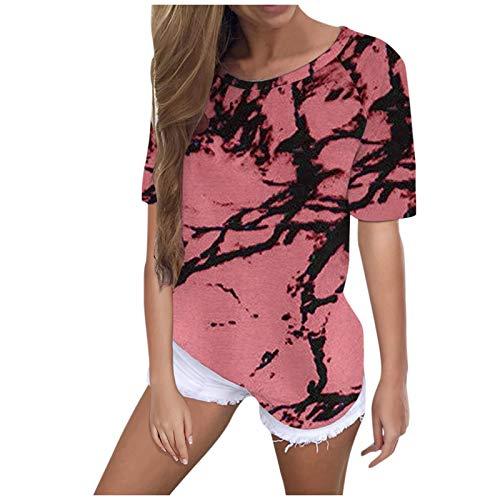 BIBOKAOKE Camiseta de manga corta para mujer, elegante, mejor amigo, cuello redondo, informal, con estampado Tie-Dye Rosa. XXXL