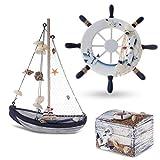 Flanacom Maritime Badezimmer Deko 3er Set - Leuchtturm, Segel-Schiff und Schatz-Truhe aus Holz - liebevoll gestaltete Badaccessoires mit Details (Design 2-2)