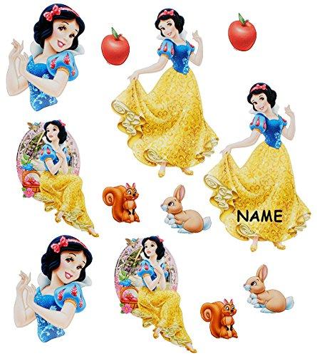 alles-meine.de GmbH 12 TLG. Set _ Fensterbilder -  Disney Prinzessin Schneewittchen  - incl. Name - Sticker Fenstersticker Aufkleber - selbstklebend + wiederverwendbar - Fenste..