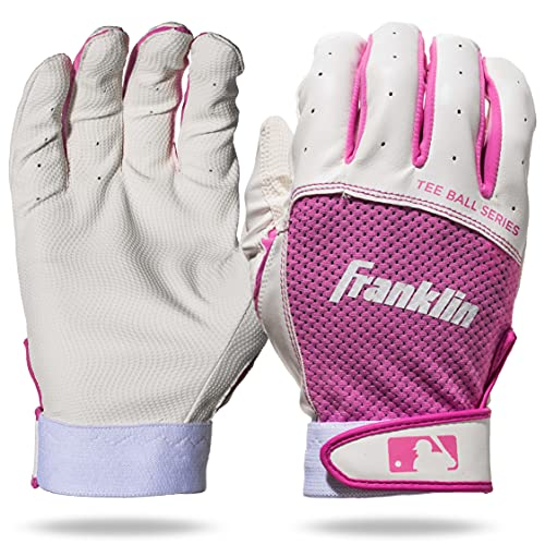 Franklin Sports Youth Teeball Batting Gloves - Youth Flex - Kids Batting Gloves for Teeball, Baseball, Softball - Pink/White - Extra Small