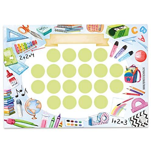 Papierdrachen Belohnungstafel Set für Kinder als Abreißblock 10 Blatt - Motivierendes Konzept als Erziehungshilfe - mit tollen Stickern für Jungs und Mädchen - Motiv Schule Set 20