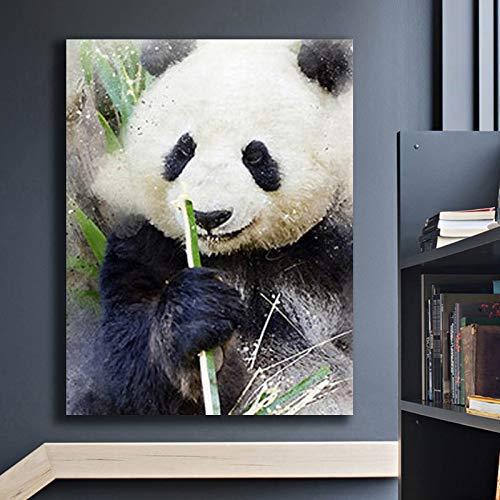 KWzEQ Art-Deco-Gemälde an der Wand auf Leinwand Schwarzweiss-Panda Essen Bambus für Wohnzimmer nach Hause Poster,Rahmenlose Malerei,50X70cm