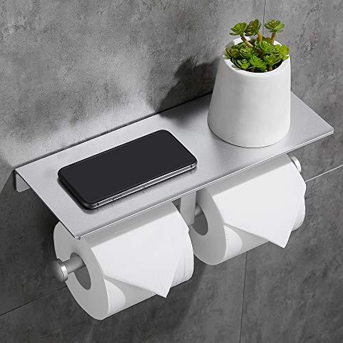 Gricol Soporte para Papel Higiénico Soporte para Papel Higiénico Autoadhesivo con Estante de Aluminio Soporte para Teléfono para Cocina y Baño Plata
