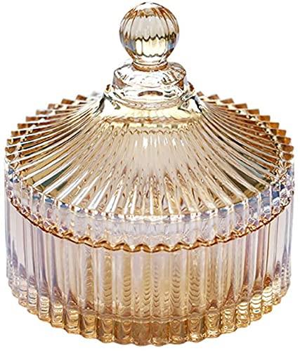 Annfly Tarro de cristal para dulces con diseño de corte de cristal con tapa cerrada de cristal transparente, contenedor para fiesta de boda (amarillo, 14,7 x 16 cm)