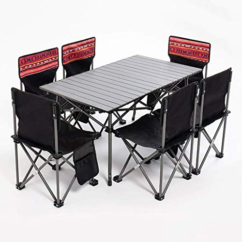 XKUN Picknicktisch, Outdoor Picknicktisch Und Stuhl Set,7 Stück Garten Camping Tisch Und Stuhl Set,6 Personen Bbq Angelstühle Hocker,Schwarz