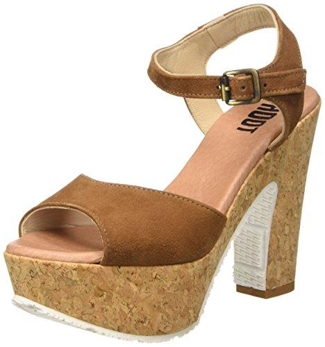 Shoot Shoot Shoes SH-160171VV Damen Sommer Leder High Heels Plateau Sandale, Damen Plateau Sandalen, Braun (Cognac), 40 EU