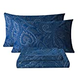 Bedlifes Paisley Sheets Luxury Ultra Soft Wrinkle-Free Hypoallergenic Pattern Printed Bed Sheets Deep Pocket Flat Sheet& Fitted Sheet& Pillowcase 100% Microfiber 3 Piece Twin Size Dark Navy Blue