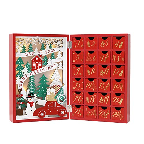 PIONEER-EFFORT Christmas Wooden Advent Calendar Book with Drawers for Adults Kids Christmas Countdown Decoration with LED Lighting (Red-001)