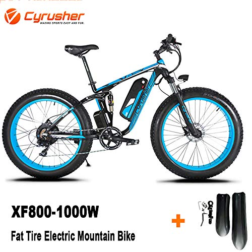 Cyrusher Upgraded XF800 26inch Fat Tire Electric Bike 750/1500W Upto 35mph BaFang Motor 48V Mens Women Mountain e-Bike Pedal Assist, Lithium Battery Full Suspension Hydraulic Disc Brakes