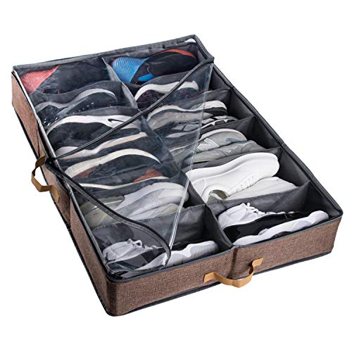 ACMETOP Extra-Large Under Bed Shoe Storage Organizer, Sturdy Built-in Structure & Durable Linen, Underbed Storage Solution Fits Mens Size 13 Sneaker and Womens 6 High-Heels (Brown)