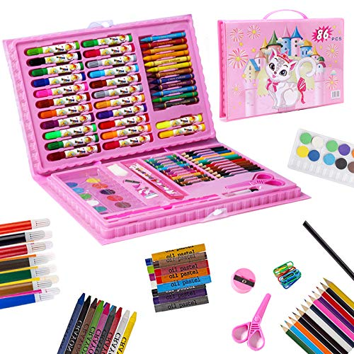 Art Set for Kids,86Pcs Drawing Art Kits with Oil Pastels,Crayons,Colored Pencils,Paint Brush,Watercolor Cakes,Portable Coloring Art Supplies for Kids (Pink)