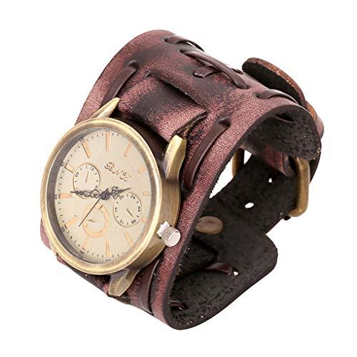 Xinjieda ZYElroy Pulsera Hombres Retro Reloj de la Banda Ancha Correa de Cuero Masculino Puño Reloj de Pulsera de Reloj de Cuarzo de la Vendimia