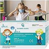50 Masken für Kinder mit CE-Zertifizierungen, hergestellt in Italien, versiegelt in 5 Packungen mit je 10 Stück.