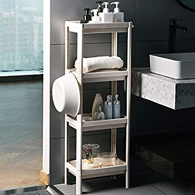 Arkmiido 4-Tier Storage Cart, Utility Cart with Hooks, Standing Shelves for Kitchen Bathroom Living Room Bedroom Laundry Room