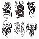 glaryyears 18 Sheets Dragon Black Temporary Tattoos for Men Teens, Animal Scorpions Wolf Owl Dark Tribal Tiger Cross, on Arm Shoulder Hand Leg Back Body Art 4.7''x7.5''