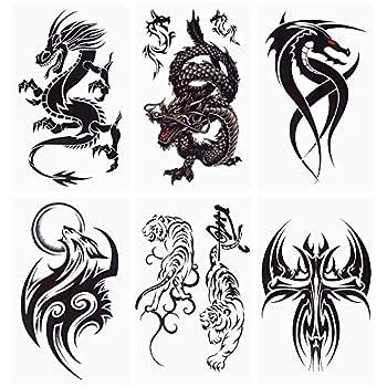 glaryyears 18 Sheets Dragon Black Temporary Tattoos for Men Teens Animal Scorpions Wolf Owl Dark Tribal Tiger Cross on Arm Shoulder Hand Leg Back Body Art 4.7  x7.5
