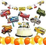 Jimiston 32 Stück BAU Geburtstag Party Deko - Fahrzeuge Ballon, Happy Birthday Banner, Cake Toppers und Luftballons für Kindergeburtstag Baustelle Party Supplies Baby Shower