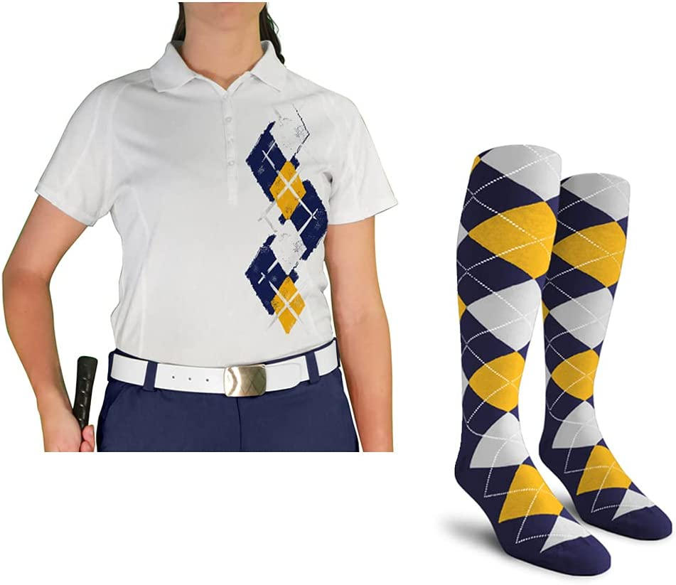 Ladies Argyle Paradise Golf Shirt Dallas Mall with sold out White Socks Navy - 5U: Go