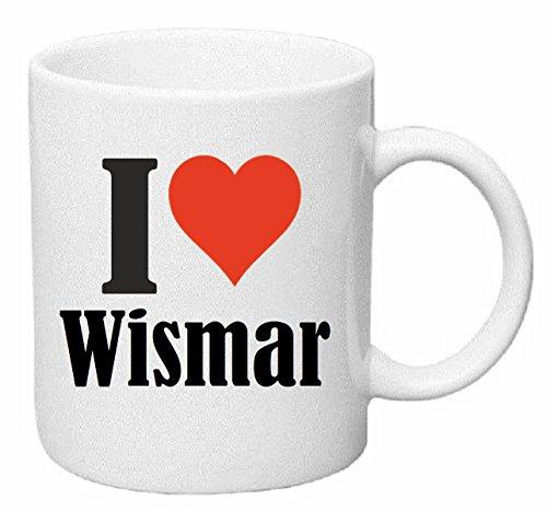 Reifen-Markt Kaffeetasse I Love Wismar Keramik Höhe 9,5cm ? 8cm in Weiß