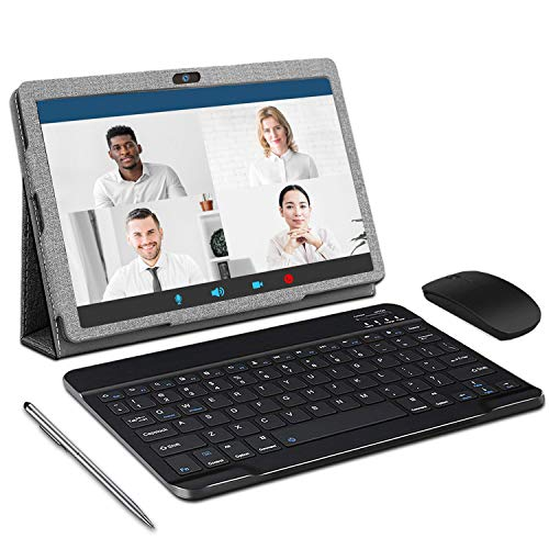 Tablet 10' Android 10 Tablet con teclado, 3 GB RAM + 32 GB ROM, Quad-Core, certificado GMS 4G LTE SIM Google Tablet, HD IPS, cámara 8 MP & 5 MP, 8000 mAh, OTG, WiFi, Bluetooth, GPS
