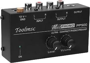 Toolmsc PP500 超コンパクトフォノプリアンプオーディオプリアンプビニールレコードプレーヤーおよびDJミキサー用、 レベルおよびボリュームコントロールノブ/RCA入力および出力、1/4インチTRS出力インターフェイス