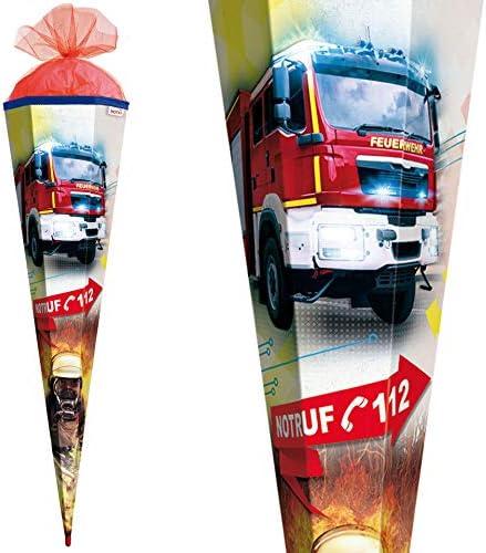 Roth Schultüte 50cm rund Feuerwehr Geschwistertüte Zuckertüte Schulanfang Tüll