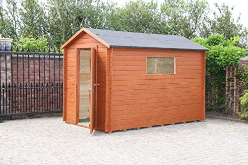 10' x 6' Apex Interlocking Scandinavian Redwood. Wall 28 mm..Roof and floor are 20 mm Tongue and Groove Shed ..ONE HORIZONTAL WINDOW.. Log Cabin /building / office/storage.FREE ASSEMBLY AND FITTING.