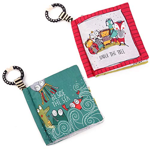 SUNEN Baby Soft Books Cloth Book for Toddlers, 2 Pack Nontoxic Fabric Baby Cloth Books Early Education Toys Activity Crinkle Cloth Book for Infants Kid - Set of 2