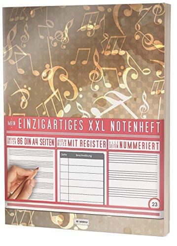 """Mein Notenheft / 86 Seiten, 44 Blätter, 12 Systeme / Mit Register und Seitenzahlen / PR301 """"Grunge Wall"""" / DIN A4 Soft Cover"""