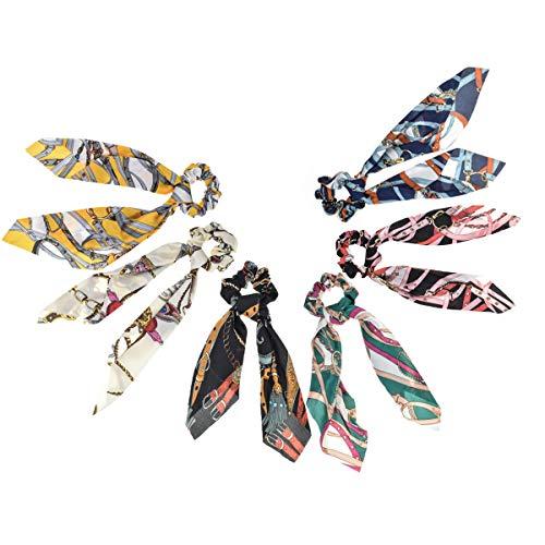 Haargummi mit Schleife, für Frauen und Mädchen, elastisches Haarband, lang, Seide, Satin, 6 Stück