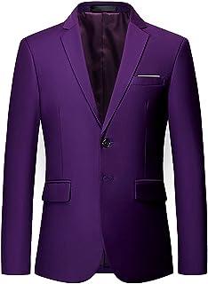 GUOCU Mens Lapel Blazer Slim Fit Formal Business Suit Jacket Solid Color Two Button Blazer Jacket Single Breasted Tuxedo J...