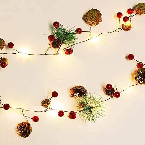 BBGSFDC Guirnalda de luces de pino de Navidad, guirnalda de 20 luces LED, funciona con pilas, para árbol de Navidad, fiesta, boda, hogar, pared, jardín, decoración