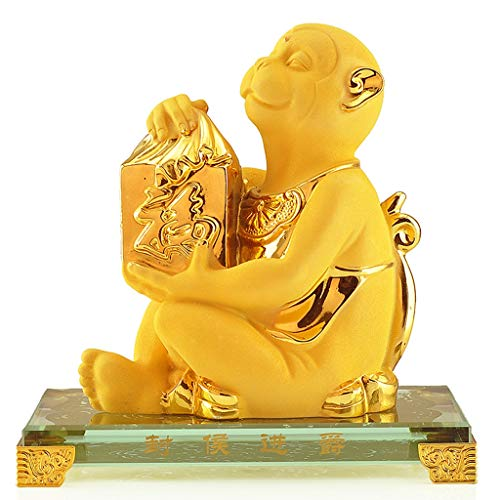 Xiaokeai Wealth Prosperity Statue Wealth Prosperity Statue Feng Shui Ornaments Chinese Zodiac Monkey Statue Home Office Table Top Decor Figurine Gift Collection Feng Shui Decoration