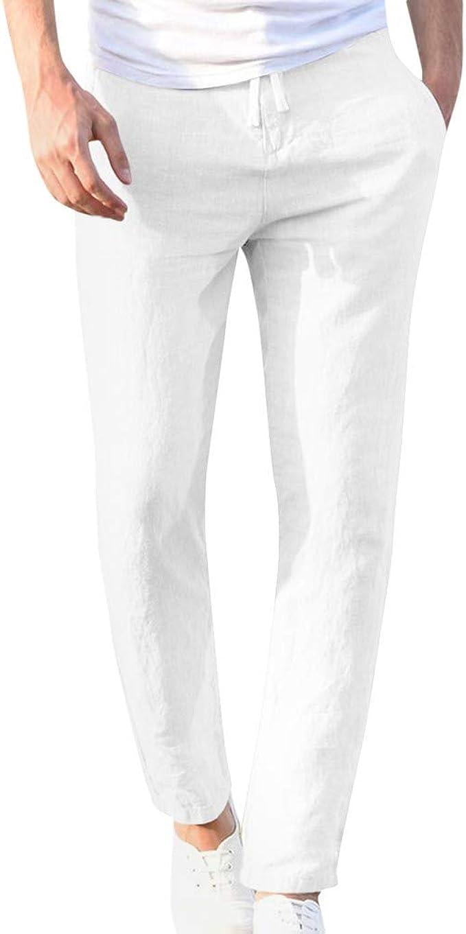 2021 Nuevo Pantalones Hombre Verano Casuales Moda Deportivos Lino Pants Color sólido Jogging Pantalon Fitness Suelto Pantalones Largos Pantalones Ropa ...