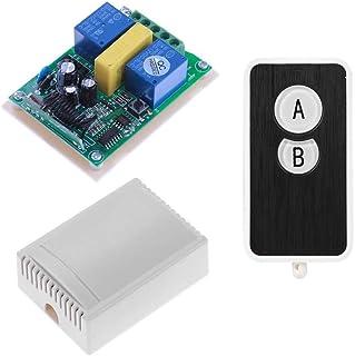 AC220V 2CH receptor de relé + transmisor RF inalámbrico interruptor de control remoto para puerta de garaje, motor, proyector, sistema de control de purga