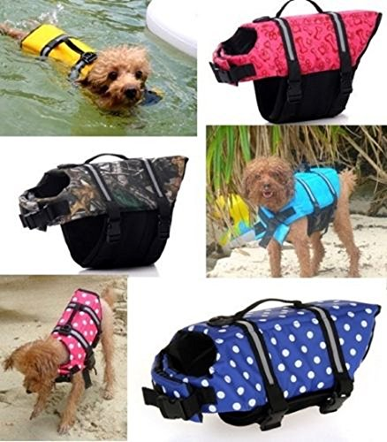 Billionaire Asia New Item Pet Safety Vest Dog Cat Life Jacket Preserver Puppy Large Swimming Jacket Gift (M, Blue Flowers)
