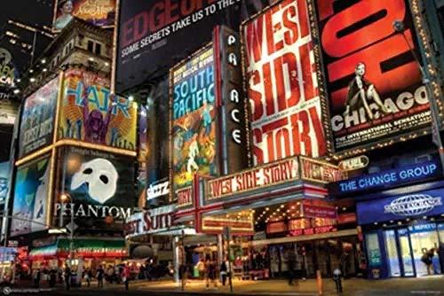 Lv5Panel Puzzle 1000 Piezas Adultos Juego De Rompecabezas De Madera Times Square Broadway County Theatre Niños Puzzle Juguetes Decoración Del Hogar,Regalos 70 * 50cm