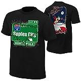 WWE Authentic Wear Brock Lesnar Suplex City North Pole Holiday T-Shirt Black Medium
