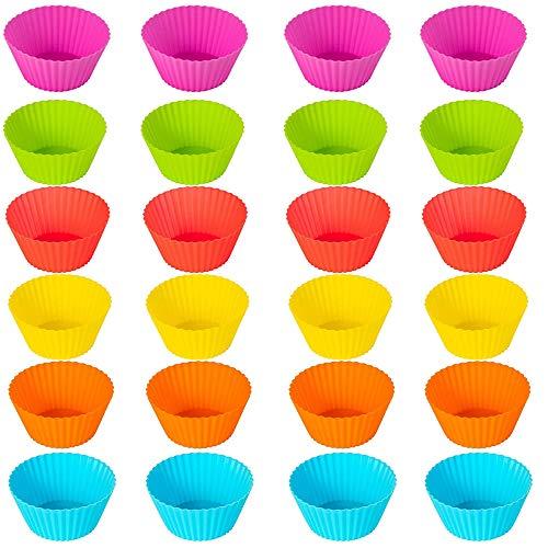 Qiwenr 24Pcs Moldes de Silicona Antiadherentes,Moldes Para Muffins de Silicona Moldes de Horneado Base para Magdalena,para Magdalenas Grado Alimenticio