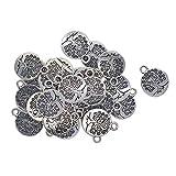 Inzopo 30 piezas colgante de flor de loto de plata tibetana Om Yoga Charms colgante de metal lindo espaciador de cuentas sueltas para hacer joyas DIY (árbol de vida) - árbol, como se describe -