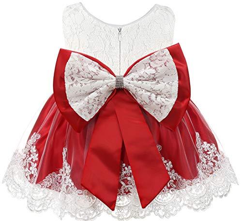 Vestidos de bebê menina com babados renda concurso festa casamento flor vestido de menina, Grace Scarlet(red)white, 3-6 Months