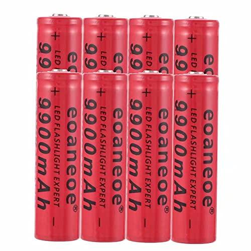 Kuyoly 8 pcs 18650 Batería Recargable de Iones de Litio de 3,7 V 9900 mAh Baterías de botón de Gran Capacidad para Linterna LED, iluminación de Emergencia, Dispositivos electrónico,18x65mm