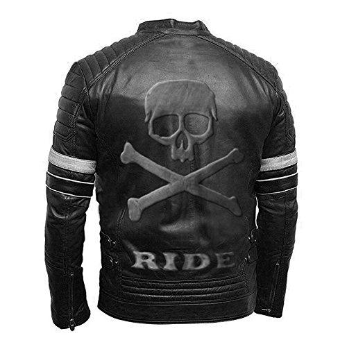 Vintage Motorcycle Biker Style Genuine Motorbike Leather Jacket Black with Skull Embossed on Back White Stripes- S