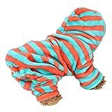 Dog Pajamas Warm Pet Winter Jumpsuit Coral Fleece Cat Dog Hoodies Pet Green Orange Stripe Clothes Soft Comfortable Dog Nightclothes (L)