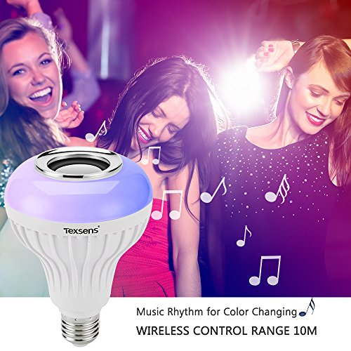 Texsens LED Light Bulb with Integrated Bluetooth Speaker, 6W E27 RGB Changing Lamp Wireless Stereo Audio with 24 Keys Remote Control