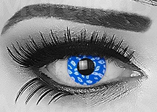 Funnylens 1 Paar farbige Crazy Fun blue leopard Jahres Kontaktlinsen. perfekt zu Halloween, Karneval, Fasching oder Fasnacht mit gratis Kontaktlinsenbehälter ohne Stärke!