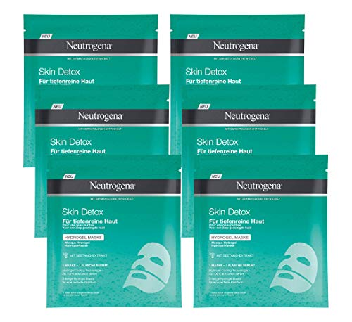 Neutrogena Skin Detox Hydrogel Maske, mit Seetang Extrakt für tiefenreine Haut, 6 x 30 ml