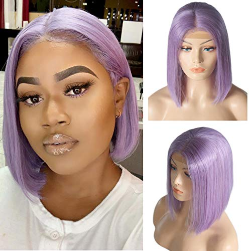 Short Lace Front Bob Wigs Human Hair Lilac Colored 13x4x1 Middle Part Lace Frontal Wigs Pre Plucked Hairline 8 Inch T Part Lace Wig for Black Women 180% Density Brazilian Virgin Human Hair Bob Wigs