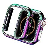 Yolovie Compatible for Apple Watch Case 38mm 40mm 42mm 44mm Bling Crystal Diamonds Rhinestone Bumper Cover for Women Girl, Hard PC Protective Frame for iWatch Series 6/5/4/3/2/1/SE - 44mm Colorful